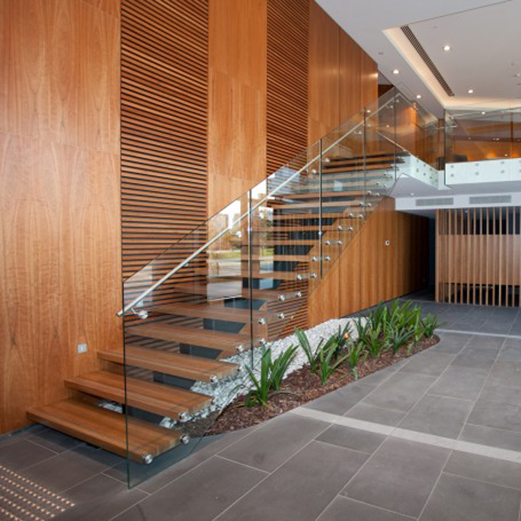 Glass balustrade wooden mono staircase