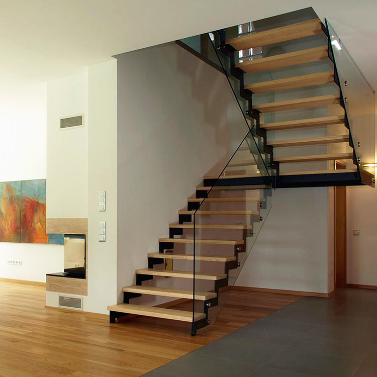 steel wood double staircase