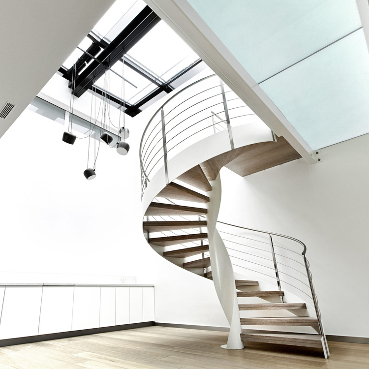 interior steel wood spiral staircase