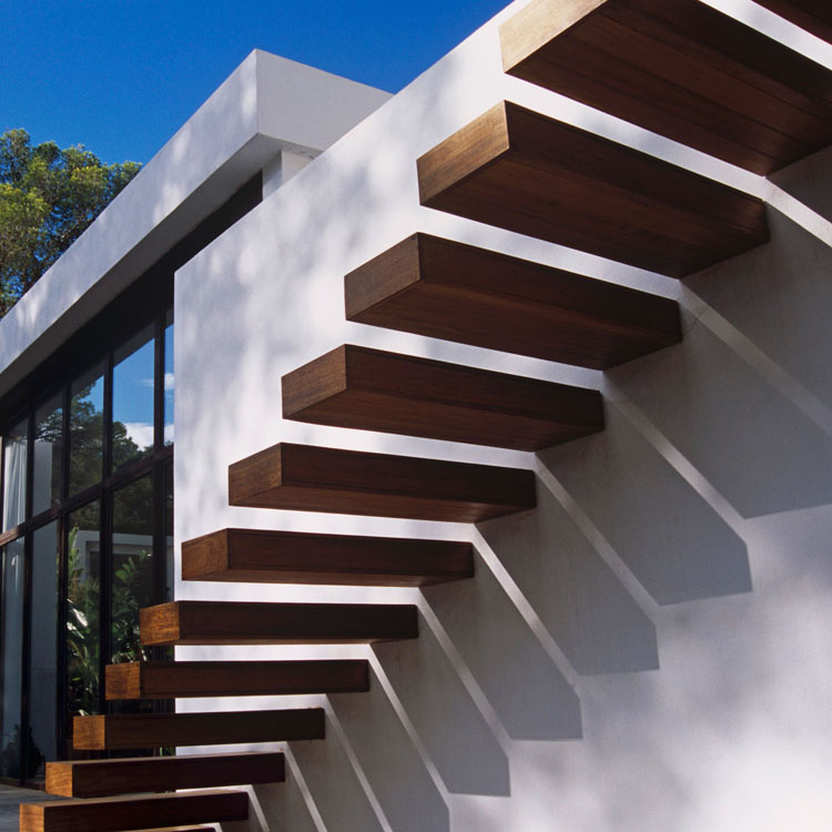Outdoor Wooden Floating Staircase