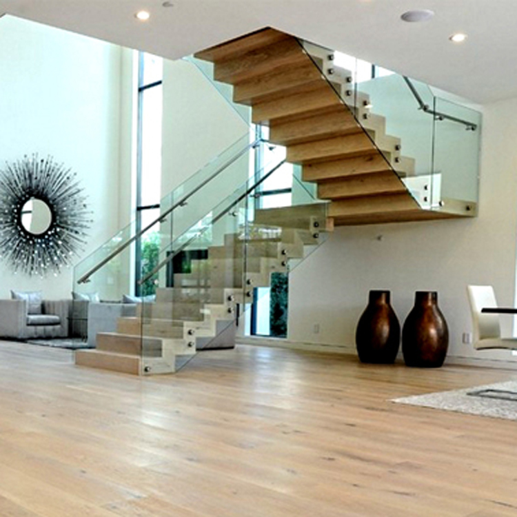 beech wood glass staircase