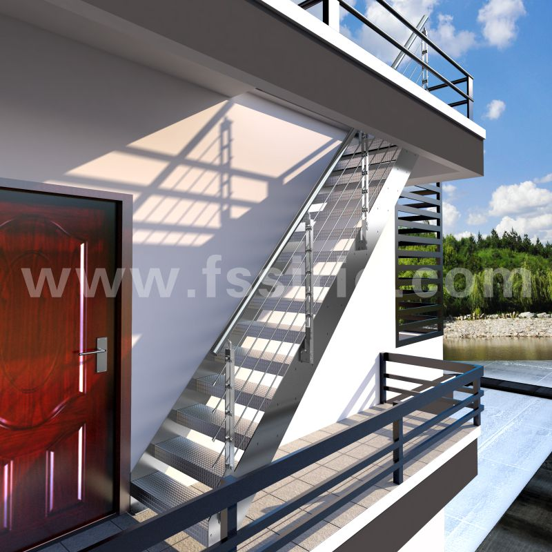 Outdoor double stringer anti-slip staircase