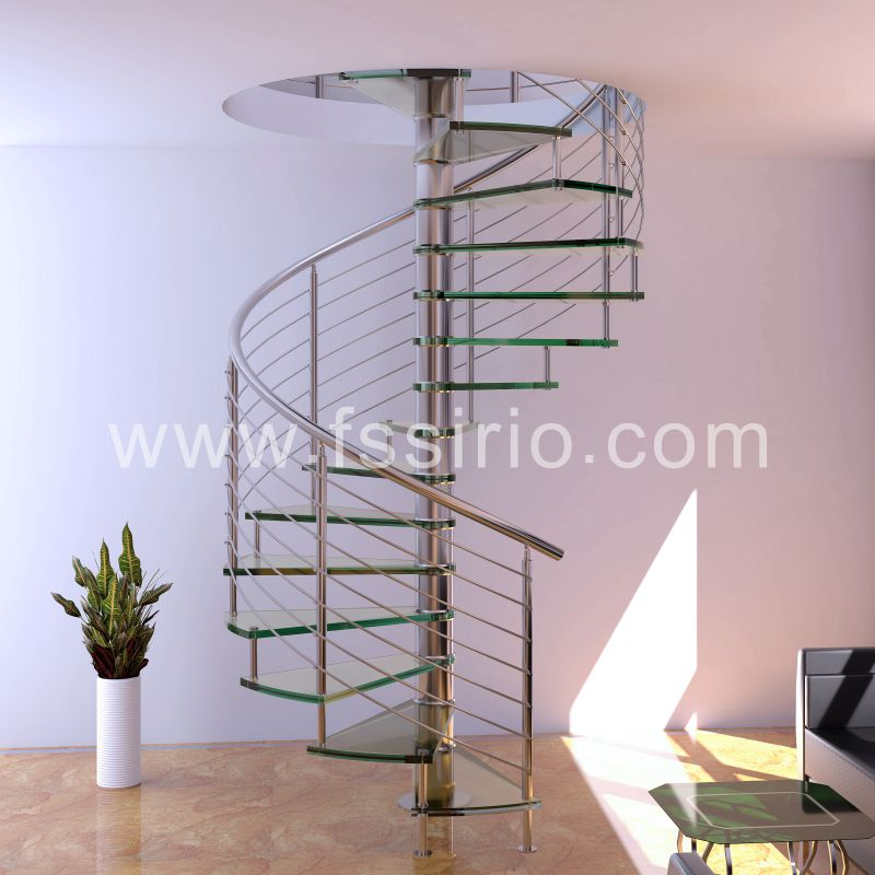 Middle central post spiral staircase modern style