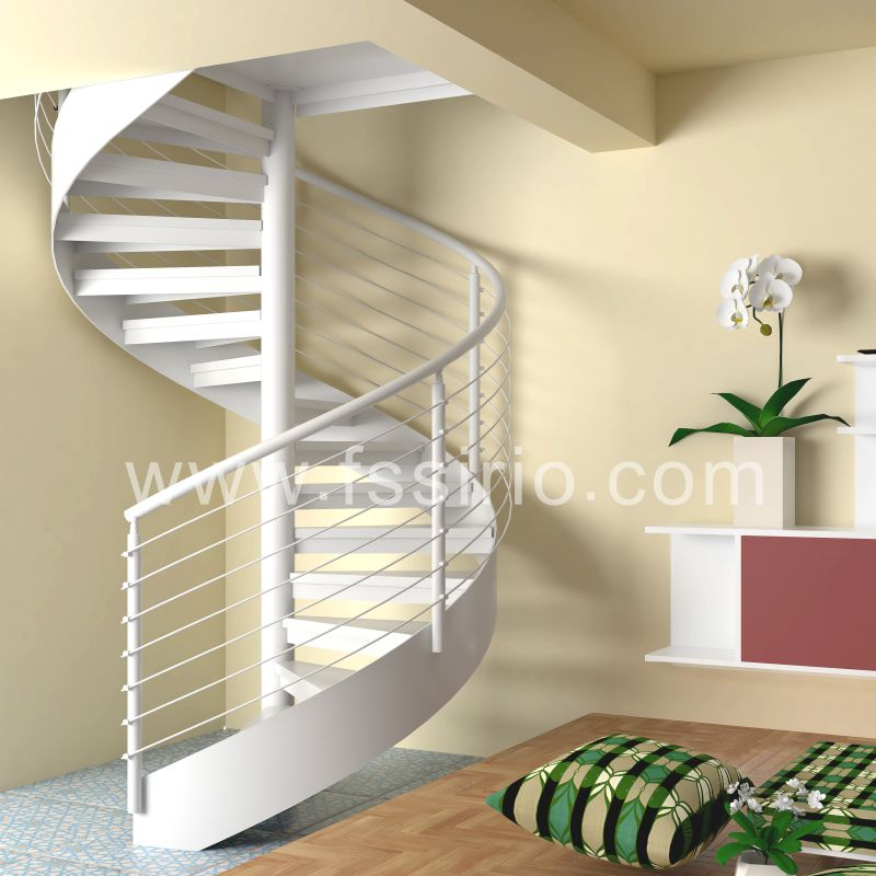 White color powder coated steel spiral staircase fashional style