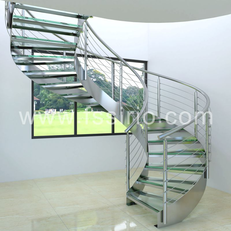Stainless steel double stringer spiral staircase fashional design