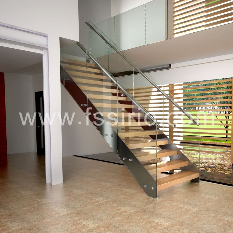 Double stringer timber wooden staircase modern style