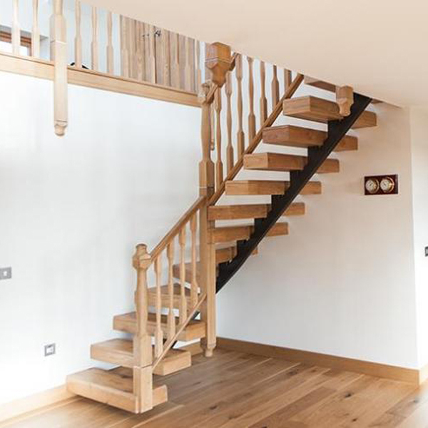 L shape stairway-black stringer-solid wood treads