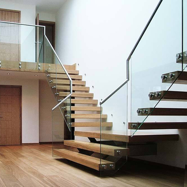 Y shape mono stringer staircase-90mm timber tread