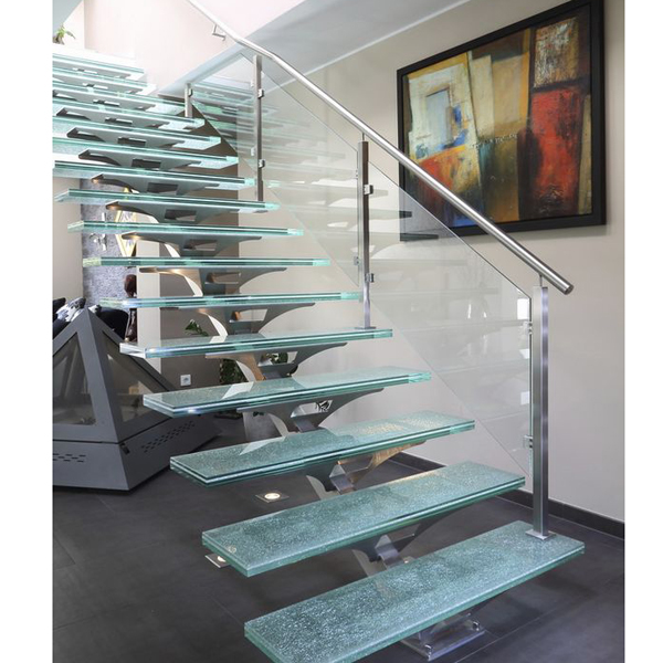 straight glass staircase-with-central-stringer-metal-frame-and-glass-steps