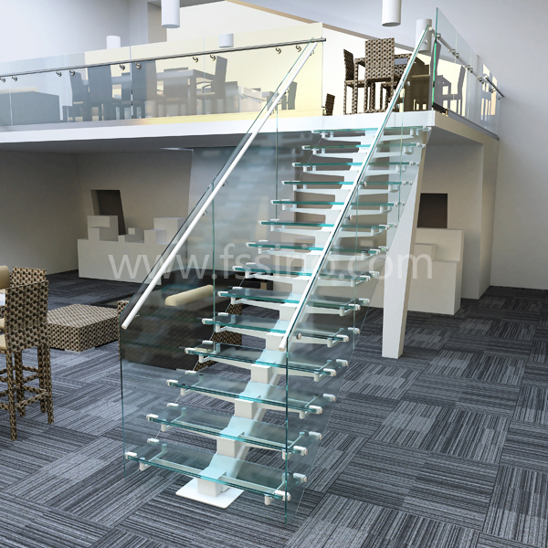 MONO GLASS STRINGER STAIRCASE GLASS RAILING