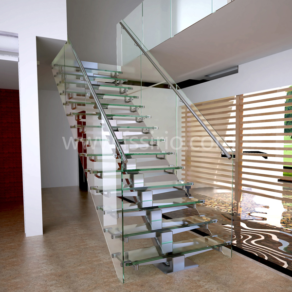 single stainless steel stringer glass treads staircase